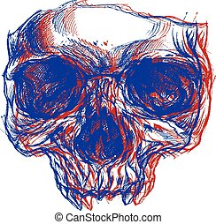 maschera, cranio, 3d
