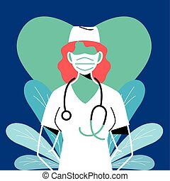maschera, faccia, giovane, infermiera, il portare