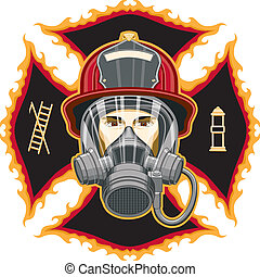 maschera, pompiere, croce