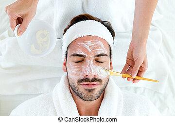 maschera, spa., argilla, uomo, facciale, bellezza