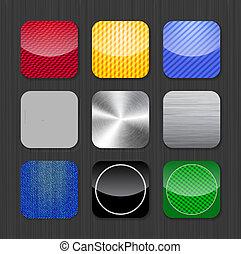 mascherine, app, icona, lucido, metallico