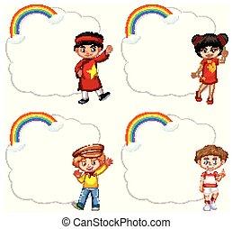 mascherine, arcobaleno, cornice, nuvola