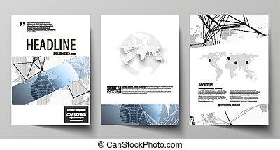 mascherine, globo globale, coperchi, disegno, disposizione, rete, aviatore, formato, tre, collegamenti, punti, moderno, blue., booklet., rivista, editable, illustrazione, a4, mondo, linee, vettore, opuscolo