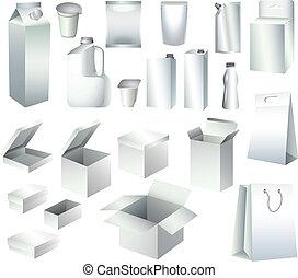 mascherine, imballaggio, scatole, carta, bottiglie