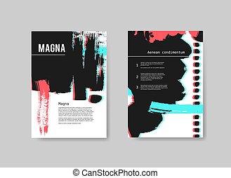 mascherine, stereo, set, dipinto, astratto, mano, effect., vettore, disegno, artistico, fondo, volantini, disegnato