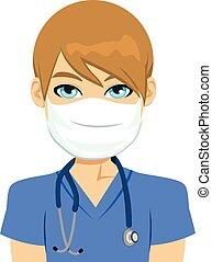 maschio bianco, infermiera