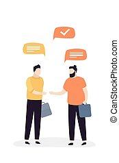 maschio, caratteri, dialogo, fra, isolato, uomini affari, due, persone., bello, affari, comunicazione.