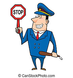 maschio, polizia, cartone animato, ufficiale