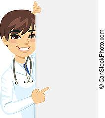 maschio, sbirciando, dottore