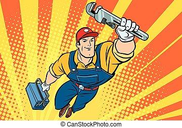 maschio, strappare, idraulico, superhero