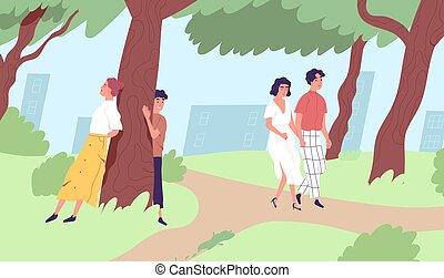 maschio, vettore, rilassante, urbano, city., park., illustrazione, tempo, persone, spendere, appartamento, ozio, caratteri, attività, giovane, femmina, camminare, nature., esterno, godere