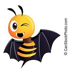 mascotte, affilato, felice, lungo, pipistrello, costume, halloween., denti, halloween, ape, vettore, carattere, cartone animato, -