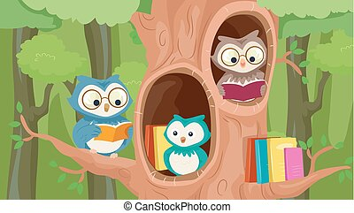 mascotte, albero, biblioteca, gufi