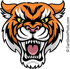 mascotte, arrabbiato, tiger
