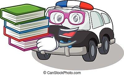mascotte, automobile, studiare, polizia, cartone animato, libro