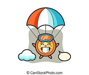 mascotte, cartone animato, pizza, gesto, felice, skydiving