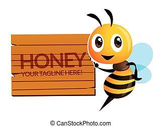 mascotte, dicitura, carattere, felice, legno, grande, carino, ape, vettore, cartone animato, cartello, isolato, -