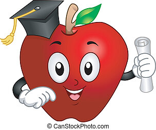 mascotte, mela, laureato