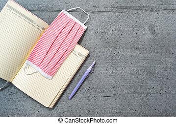 mask., quaderno, aperto, penna, ufficio, disposizione, medico, spazio, appartamento, segnalibro