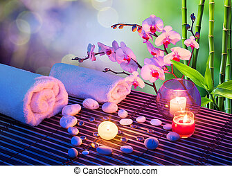 massaggio, cuore, candela, pietre