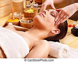 massaggio, facciale, donna, prendere