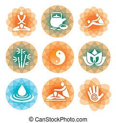 massaggio, terme, simboli, sfondi