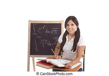 matematico, class., scuola, fondo, seduta, studente, lavagna, alto, visibile, università, latina, femmina, scrivania, avanzato, o, matematica, formals