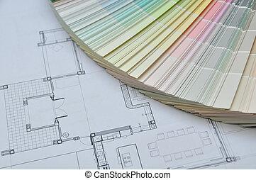 materiale, colori, architettonico, interno, samp, disegno