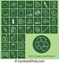 materiale, icone, riciclabile
