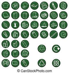 materiale, set, icona, riciclabile