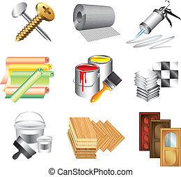 materiali costruzione, set, vettore, icone