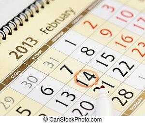 matita, 14 febbraio, mano, rosso, calendario, scrittura, pagina, 2013