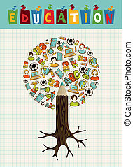 matita, albero., educazione, icone