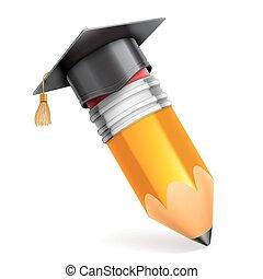 matita, berretto, graduazione, icona