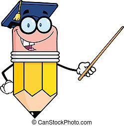 matita, cappello, insegnante, laureato