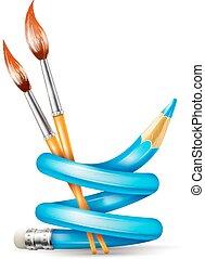 matita, concetto, arte, spazzole, torto, creativo, disegno