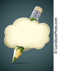 matita, concetto, artistico, nuvola, creativo