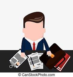 matita, cravatta, uomo affari, documento, cartone animato, icona