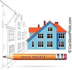 matita, icona, disegno, casa