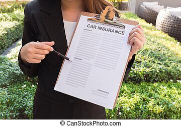 matita, indicare, automobile, esposizione, completo, politica, assicurazione, donne