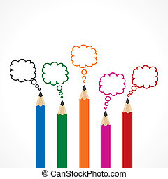 matita, messaggio, bolla, colorito