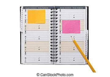 matita, organizzatore, aperto
