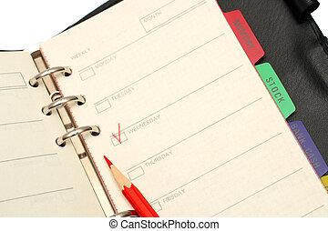 matita, organizzatore, aperto, rosso