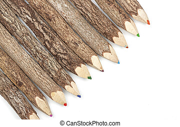 matita, pastelli, naturale, coperto, linea, corteccia