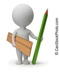 matita, persone, righello, -, piccolo, 3d