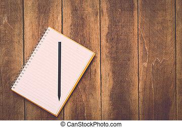matita, quaderno, legno