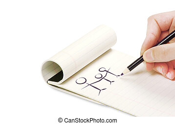 matita, quaderno, scrittura, mano