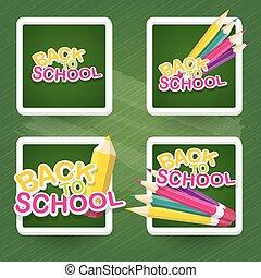 matita, scuola, testo, indietro, fondo., vettore
