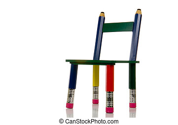 matita, sedia, sfondo bianco