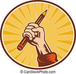 matita, set, dentro, titolo portafoglio mano, ovale, sunburst